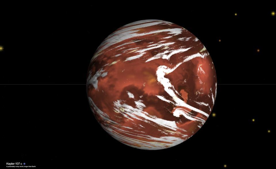NASA's exoplanet visualization of the world Kepler-107c.