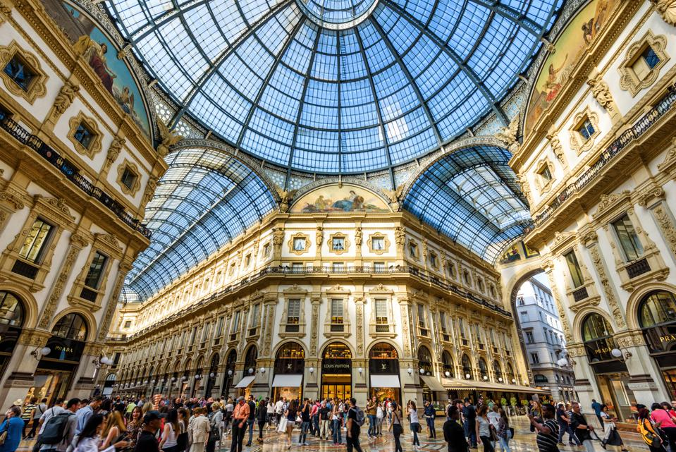 MILAN, ITALY: The Galleria Vittorio Emanuele II on the Piazza del Duomo in central Milan. This gallery is one of the world's oldest shopping malls.