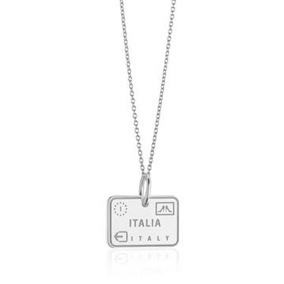 Italy passport stamp in sterling silver