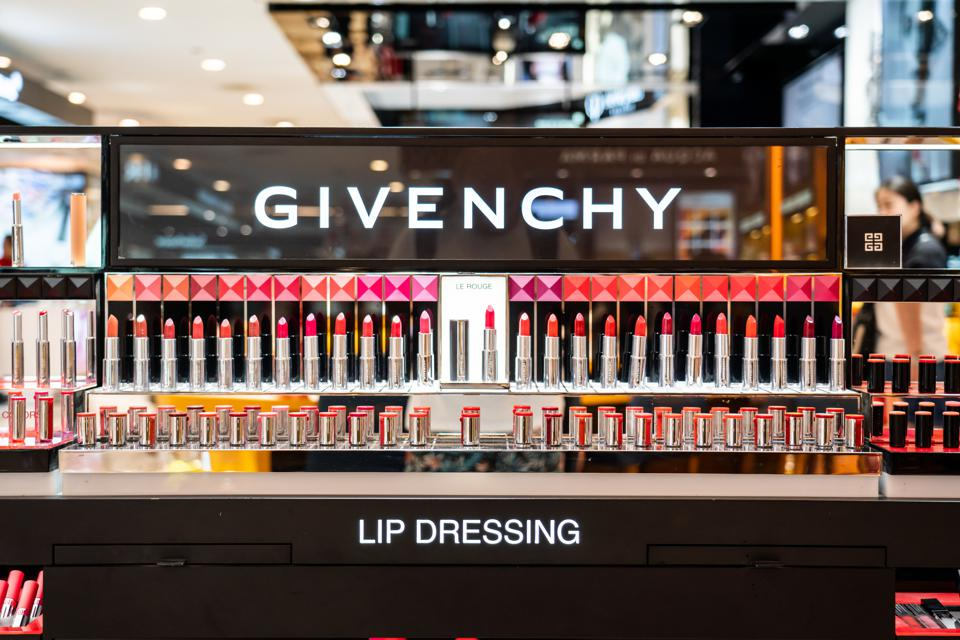Lipsticks is being displayed at a French luxury fashion and...