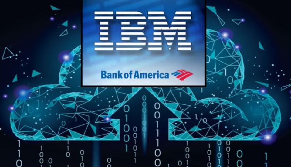 IBM and BofA logos in a cloud computing environment