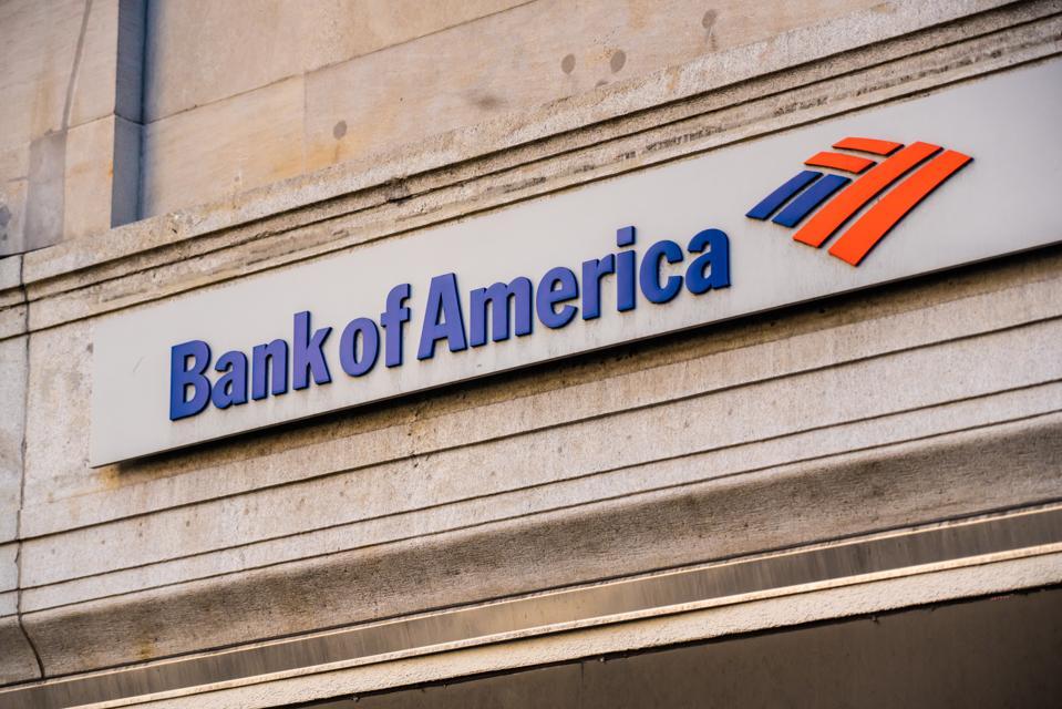 Bank of America logo seen in Midtown Manhattan...