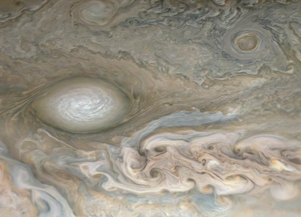 The large white oval and jet stream in the northern latitudes of Jupiter, taken by NASA's Juno spacecraft on perijove 28.