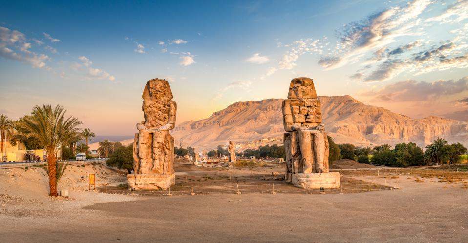 A total solar eclipse will occur above the Colossi of Memnon—two massive stone statues of Pharaoh Amenhotep–in the Valley of the Kings near Luxor, Egypt, on August 2, 2027.