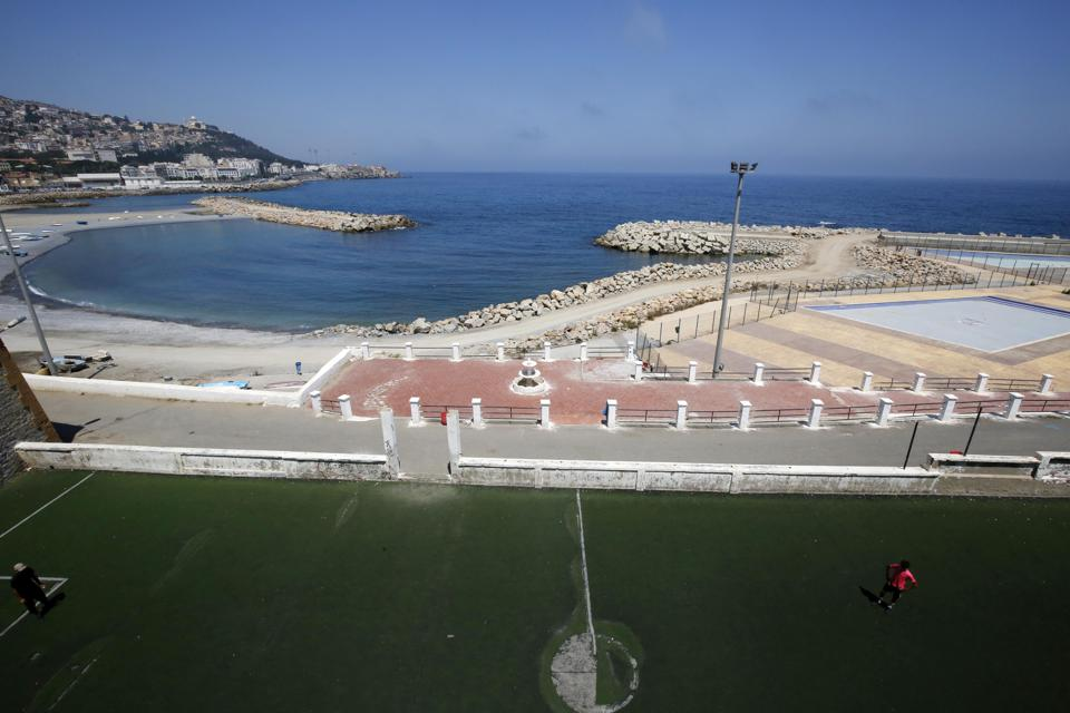 empty beach in Algiers Algeria as Coronavirus lockdown measures are partially reintroduced