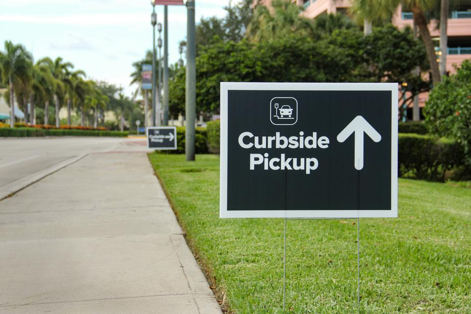 Curbside Pickup Sign with Directional Arrow
