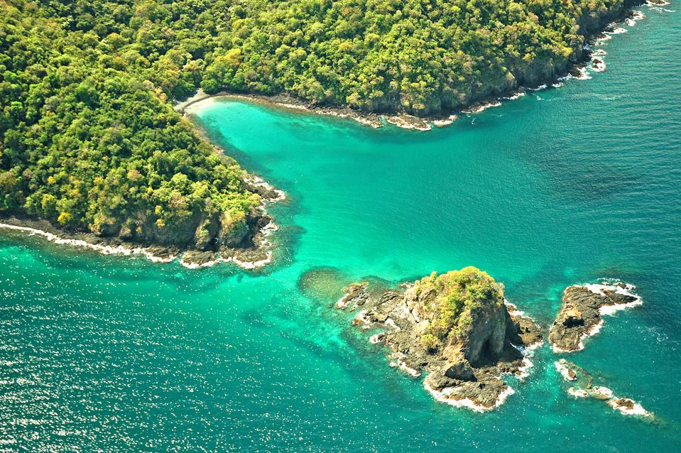 view from air of coastline with ocean, beach and trees