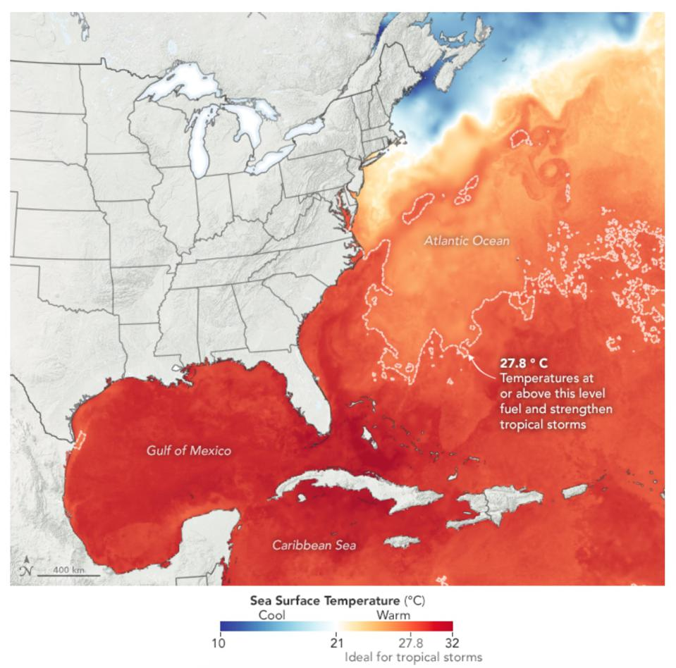 Sea surface temperatures in mid-July.