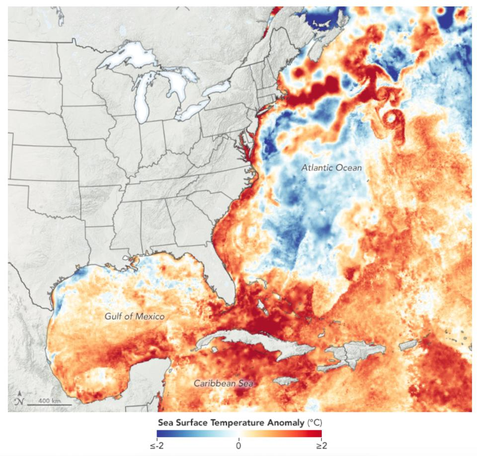 Sea surface temperature anomaly in the Atlantic for mid-July.