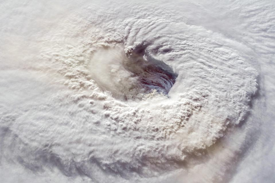 Hurricane Florence over the Atlantics close to the US coast . Gaping eye of a category 4 hurricane. Elements of this image furnished by NASA.