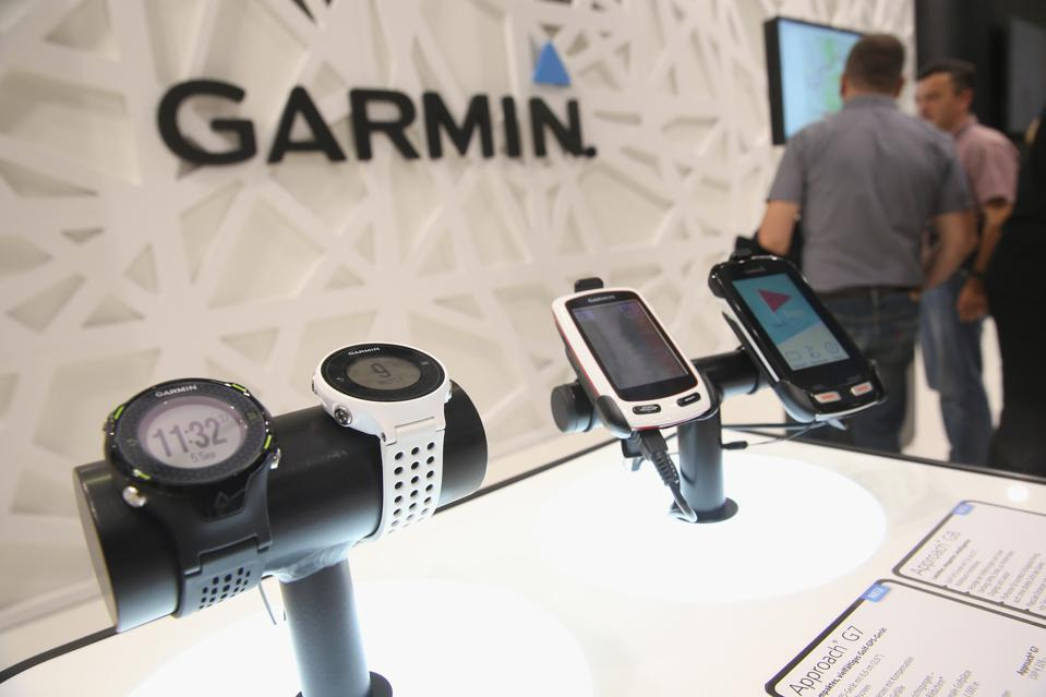 Garmin products on display at a trade fair in 2014.