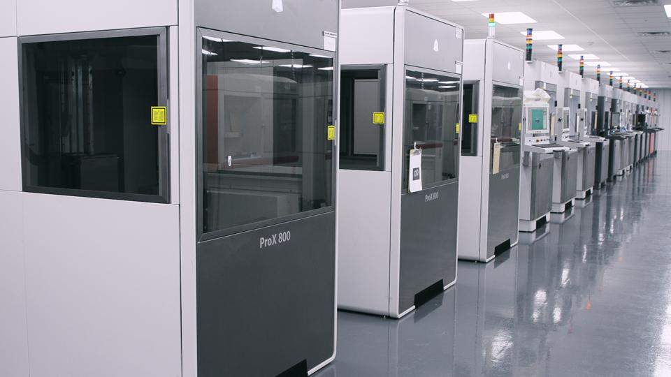A line of 3D Systems 3D printers