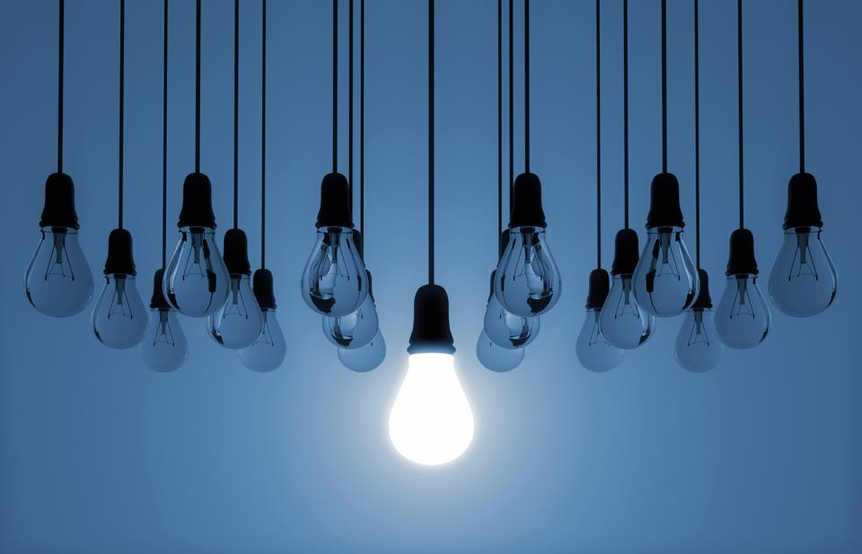 hanging light bulb switched on