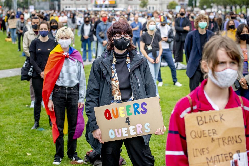 Protesters In Amsterdam during coronavirus.