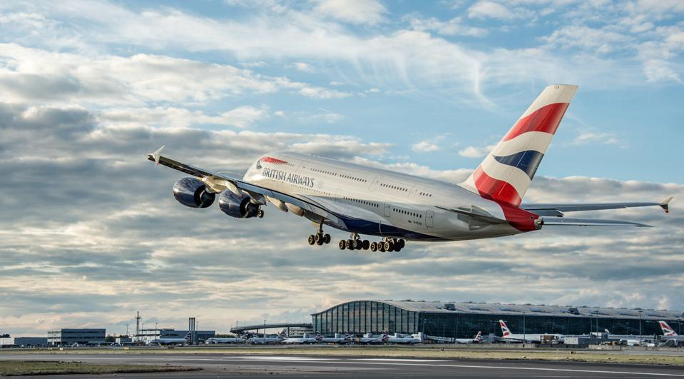 British Airways jet taking off from London Heathrow Terminal 5