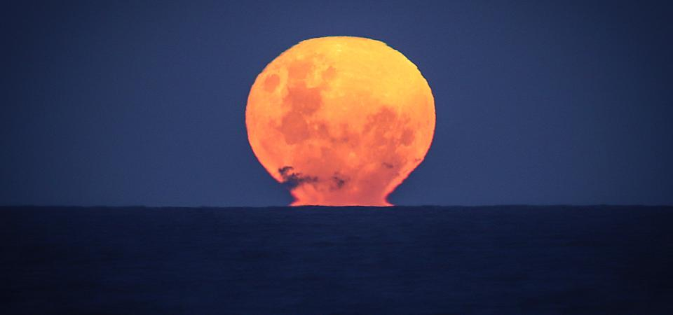 A ″Strawberry Moon″ rises over the Pacific Ocean at Narrawallee Beach...
