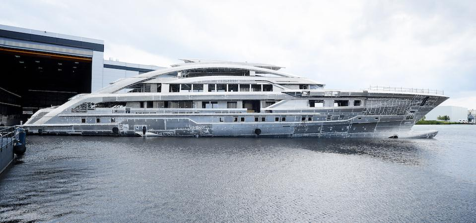 Heesen's Cosmos bare aluminum hull will be light and strong enough to handle top speeds of 30-knots. And 19,000 Horsepower engines will provide the thrust.