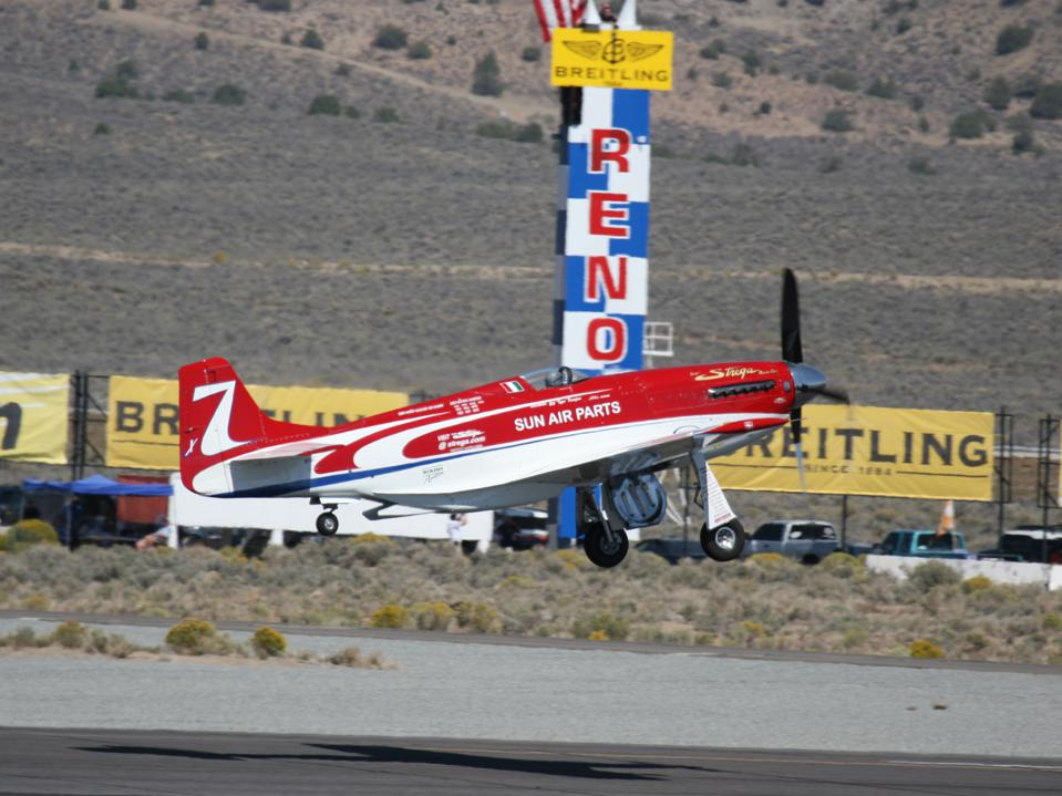 Unlimited air racer Strega takes off at the Reno Air Races