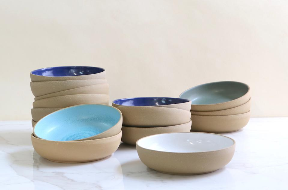 Coupe pasta bowls in toasted clay