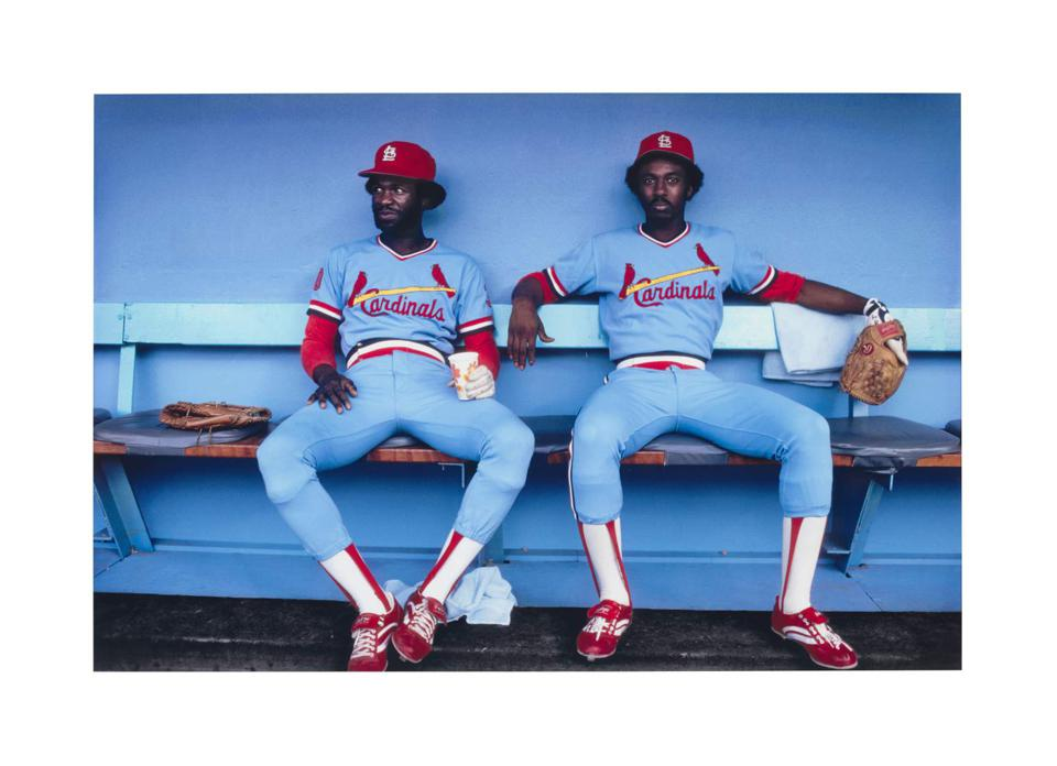 Photograph of St. Louis Cardinals Tony Scott and Gary Templeton relaxing on a bench