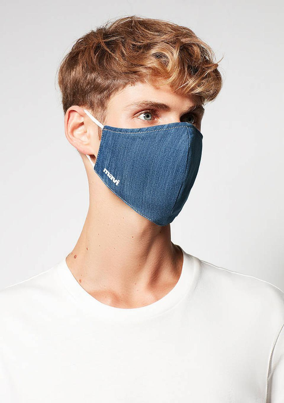 Mavi's Denim Face Mask, available in S/M or L/XL