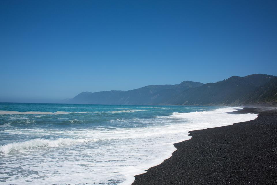 Black sand beach at the Lost Coast in California