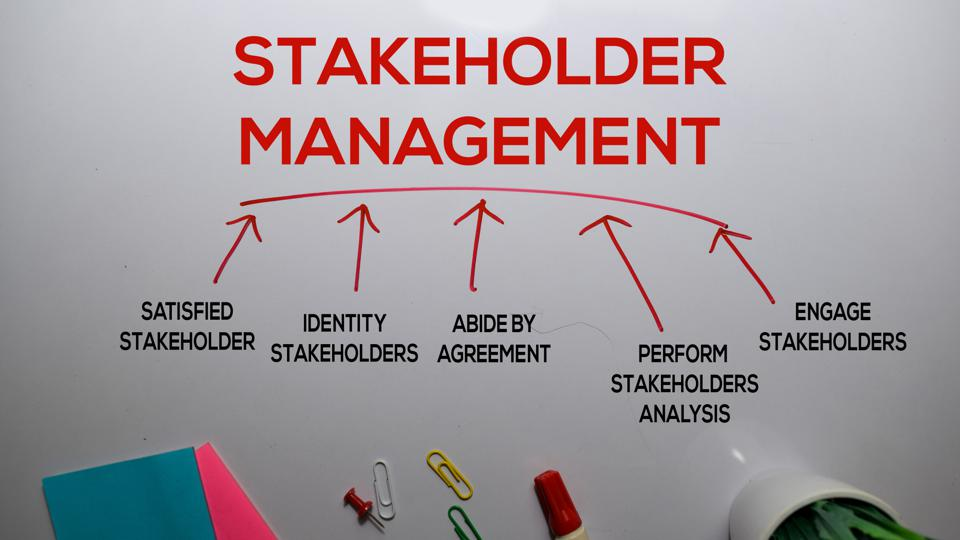 Stakeholder Management Method text with keywords isolated on white board background. Chart or mechanism concept.