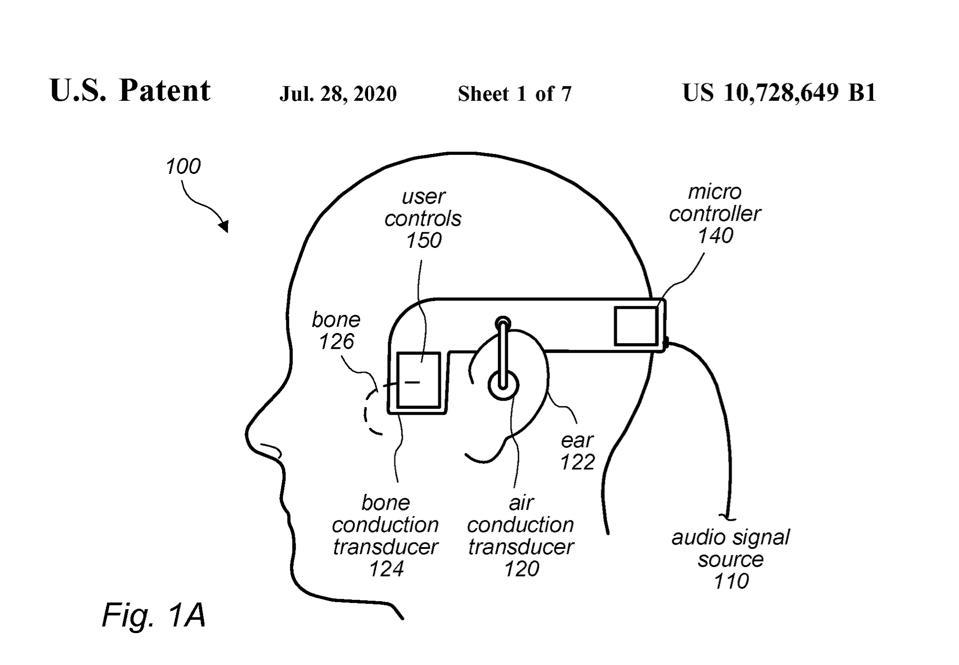 Il brevetto mostra due modi di fornire l'audio, sebbene l'audio convenzionale e la conduzione ossea.