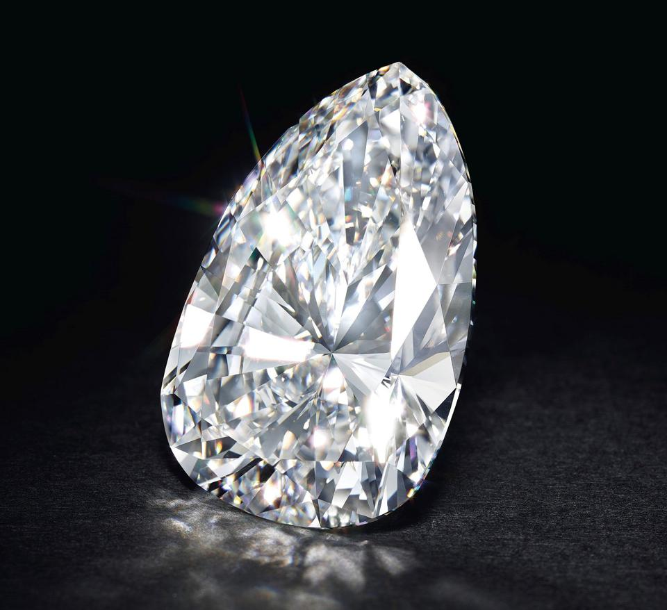 115.8-carat pear-shaped, F color, VVS1 diamond that sold for $6.29 million