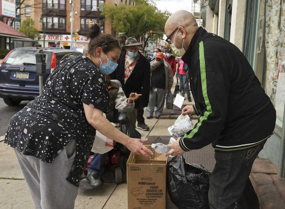 Group Gives Out Food In Reading Pennsylvania During Coronavirus Outbreak