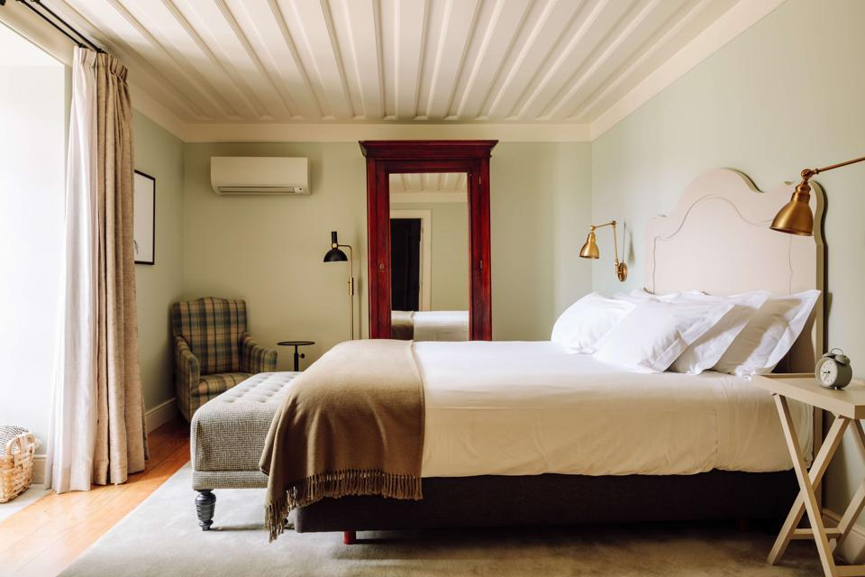 The bedrooms are comfortable and elegant at Quinta Nova in the Douro Valley, Portugal