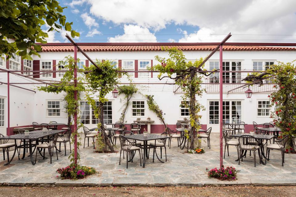 The restaurant at Quinta Nova is outside this summer, with tables on a beautiful terrace.