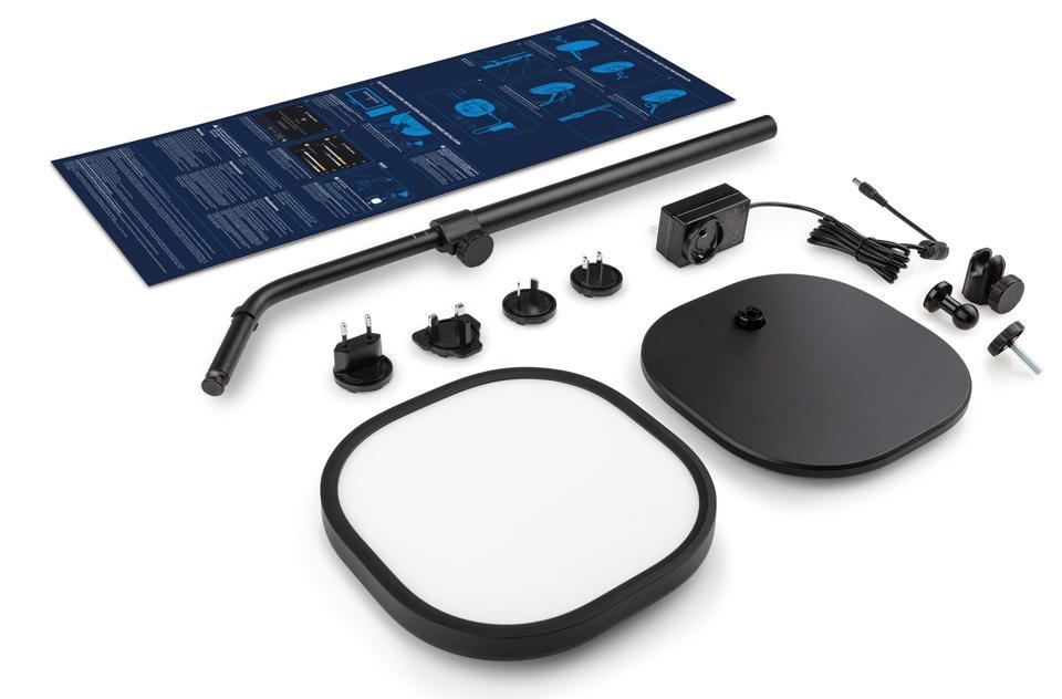 Key Light Air di Elgato include un supporto regolabile, un adattatore di alimentazione e un pannello di illuminazione illuminato