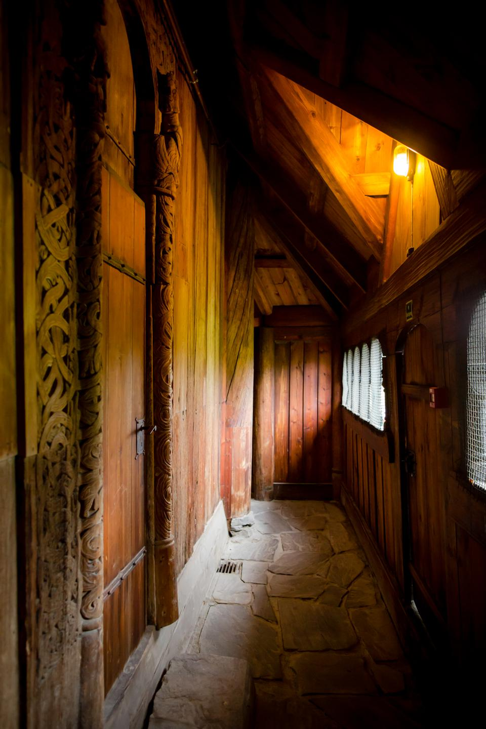 The interior of Heddal Stave Church in Notodden, Norway.