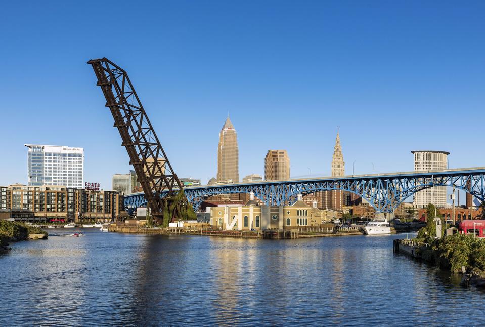 City skyline and the Cuyahoga River...