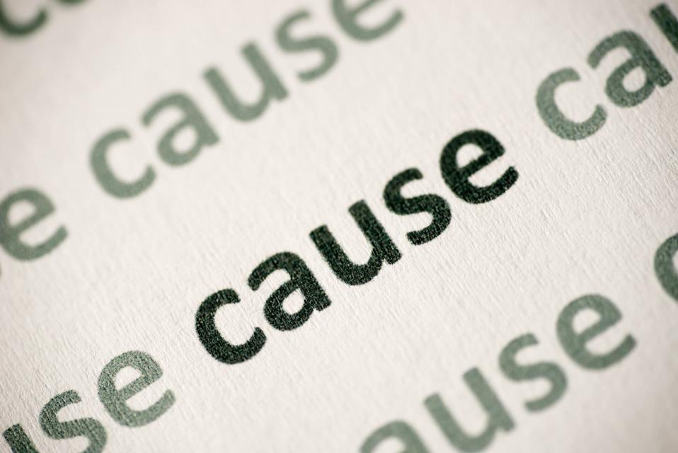 word cause printed on paper macro