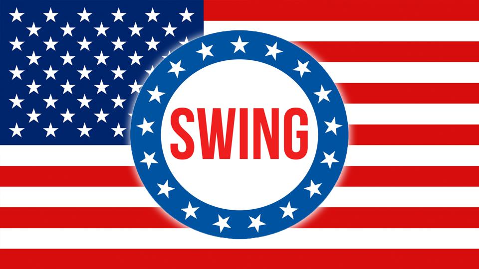 United States of America flag with Swing logo depicting presidential election.