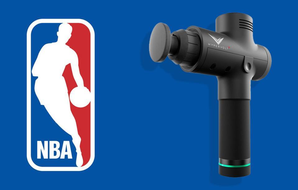 A Hyperice Hypervolt next to the NBA logo.
