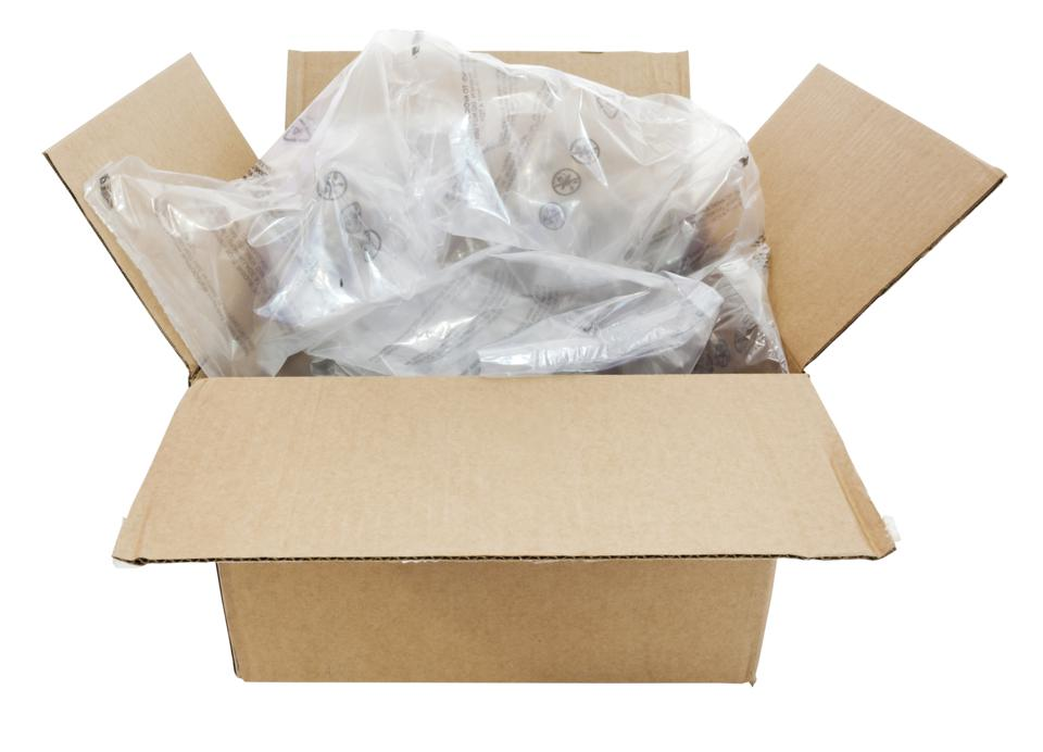 A cardboard shipping box filled with plastic air cushion pillows.