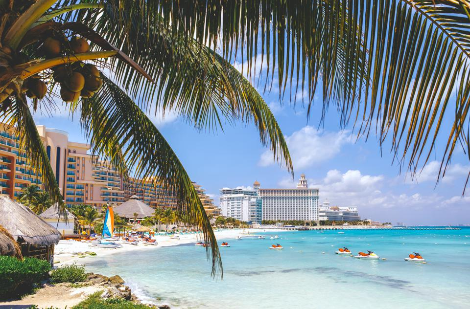 Cancun beach with hotels and plam tree in foreground