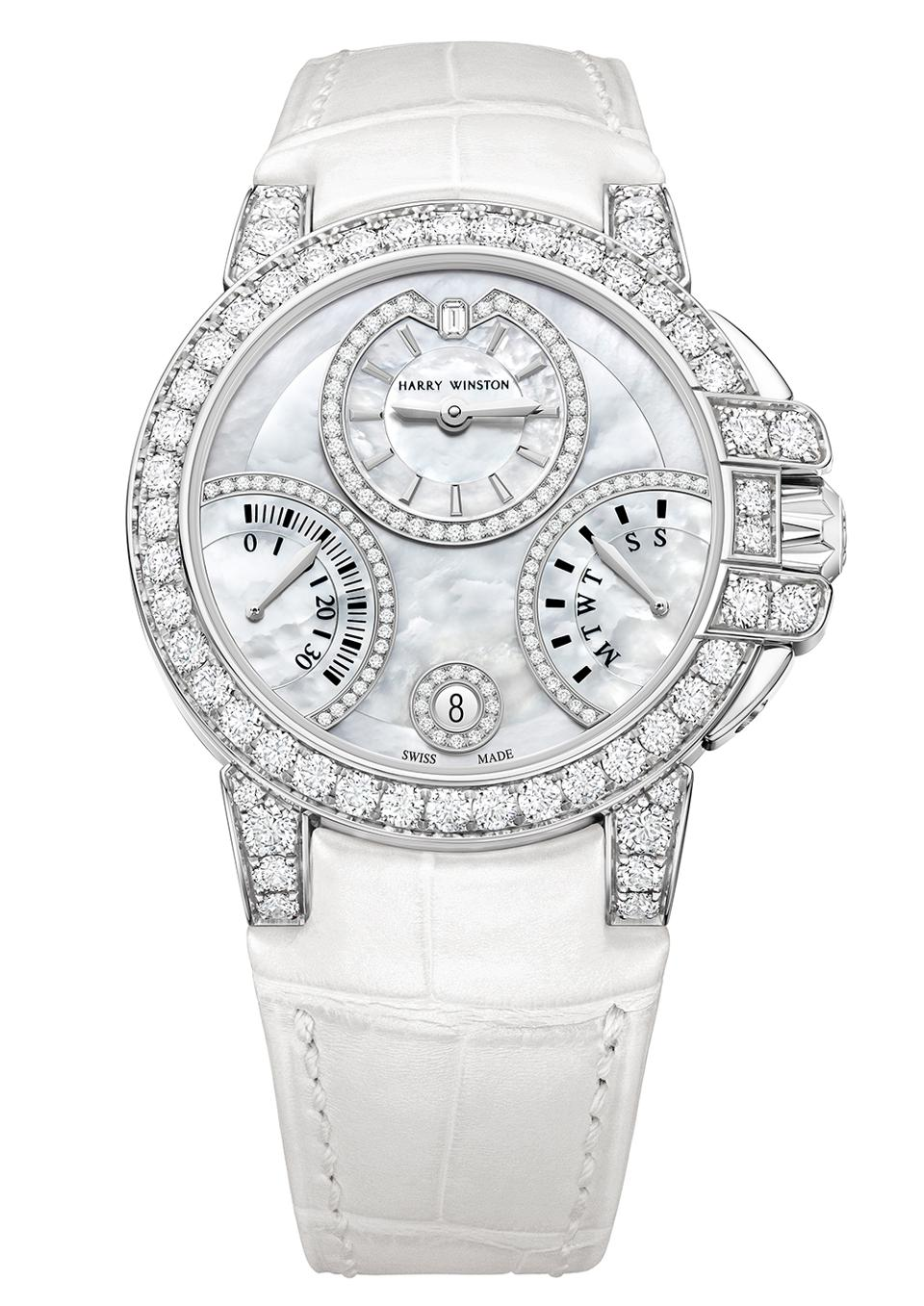 Diamond and 18k white gold watch from the Harry Winston Ocean Biretrograde Automatic 36mm collection.