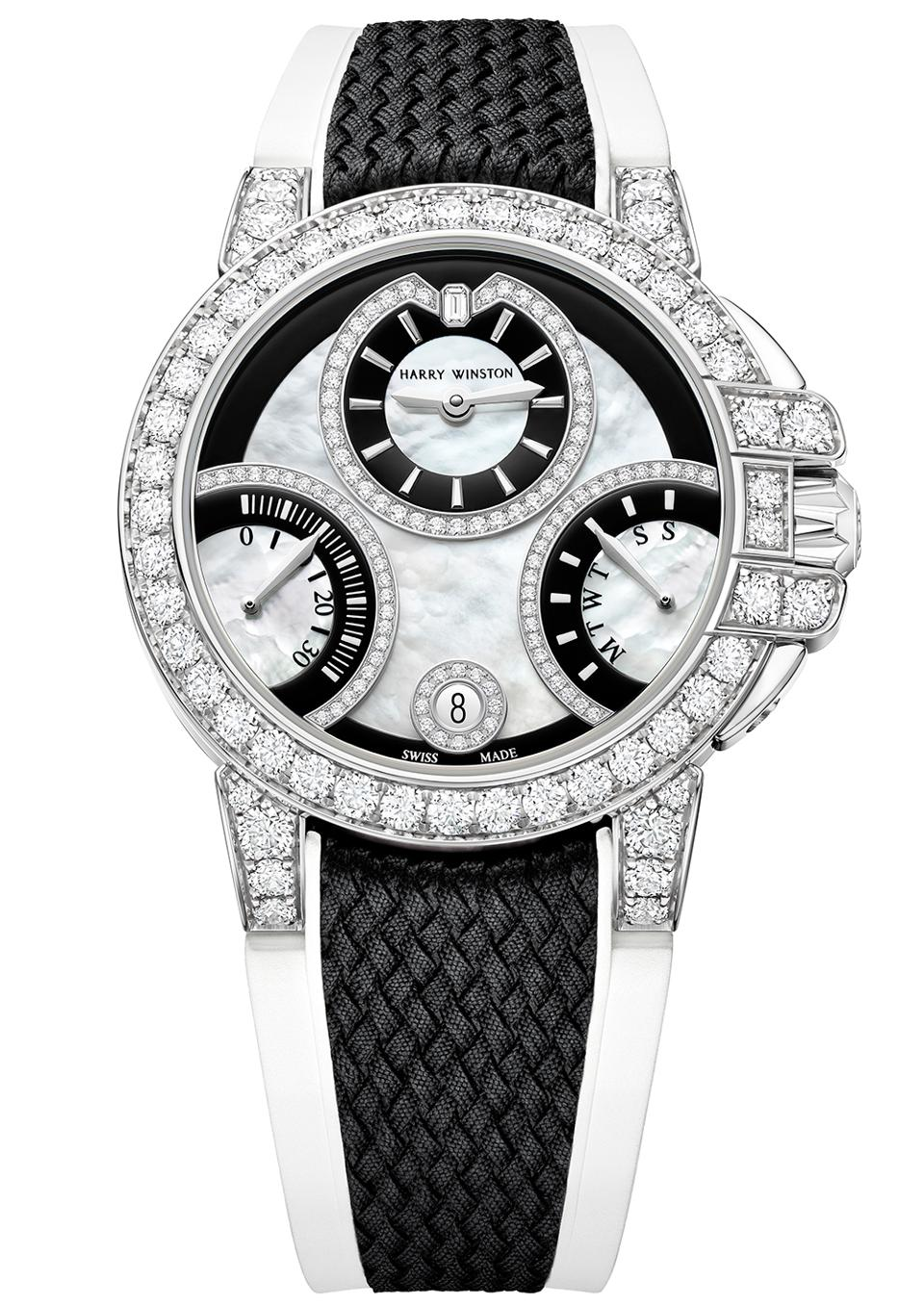 Diamond and black lacquer version in 18k gold of the Harry Winston Ocean Biretrograde Automatic 36mm collection.