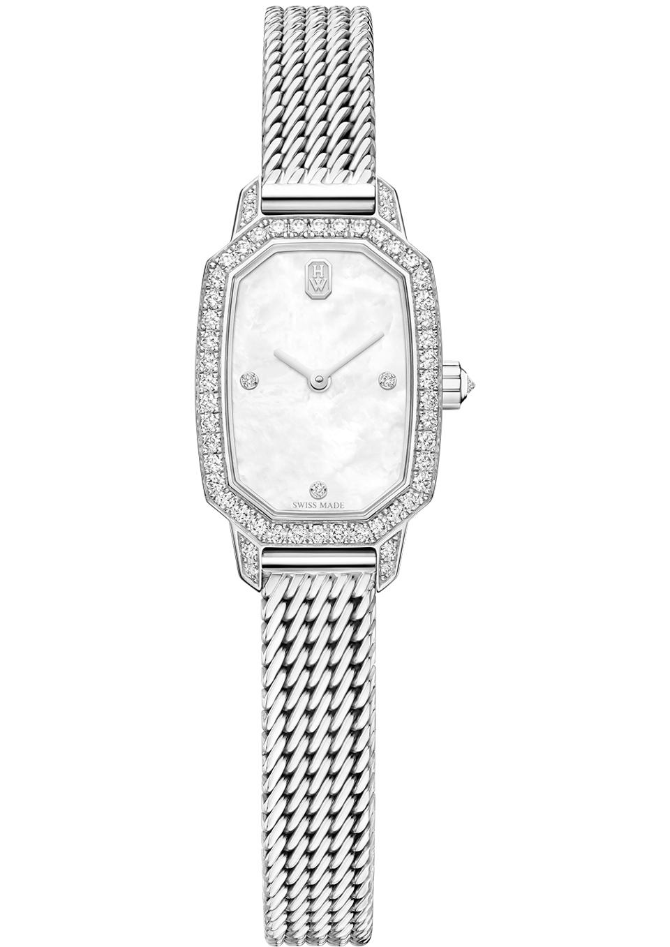 Diamond watch on a Milanese style woven bracelet from the Emerald collection by Harry Winston.