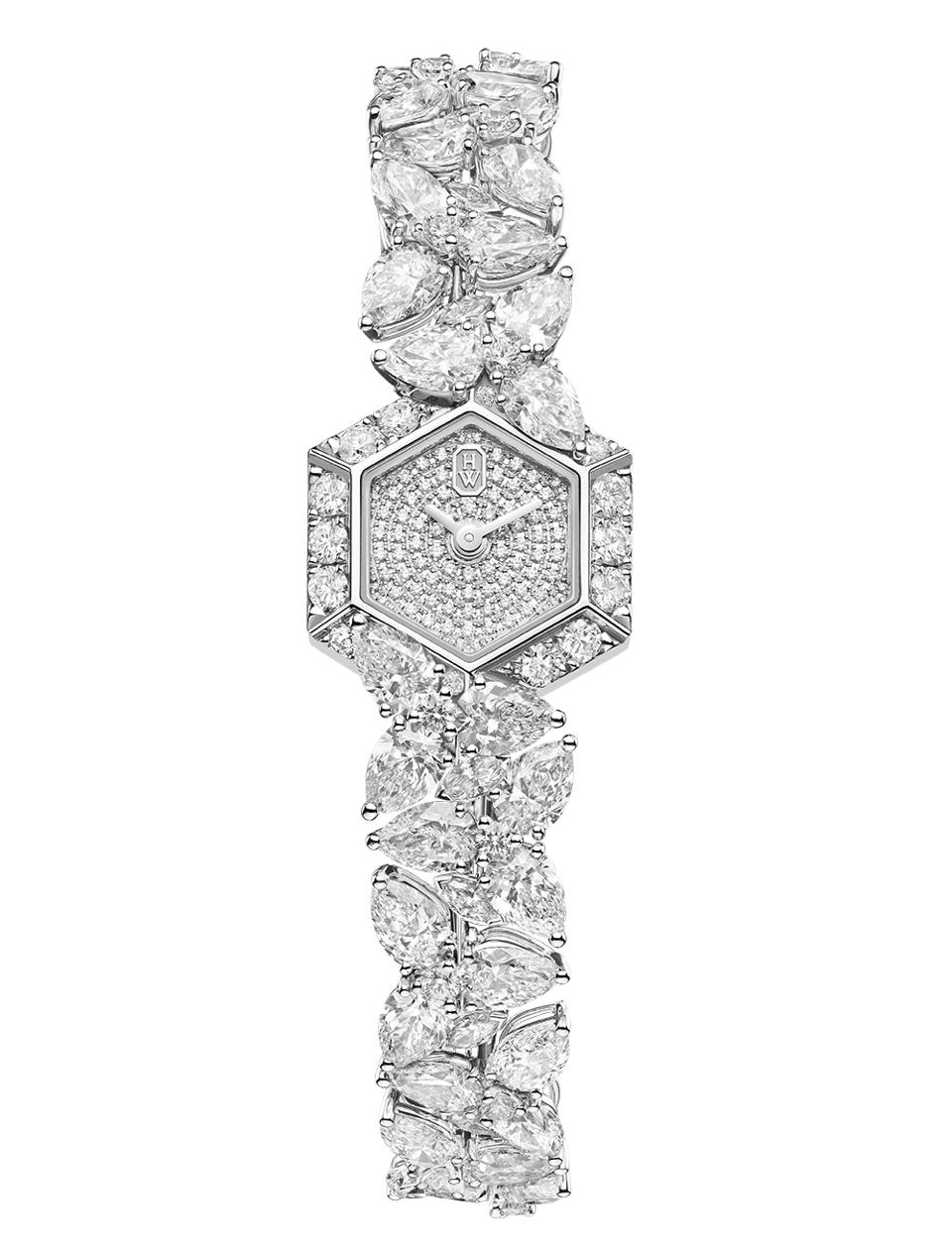 The Harry Winston Precious Cluster, set with brilliant, marquise, and pear-cut diamonds totaling over 25 carats.