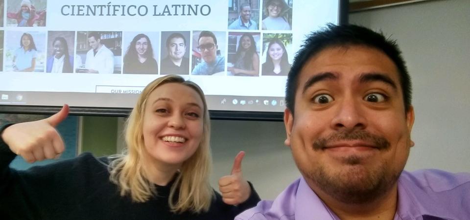 Olivia Goldman and Robert Fernandez presenting Científico Latino.