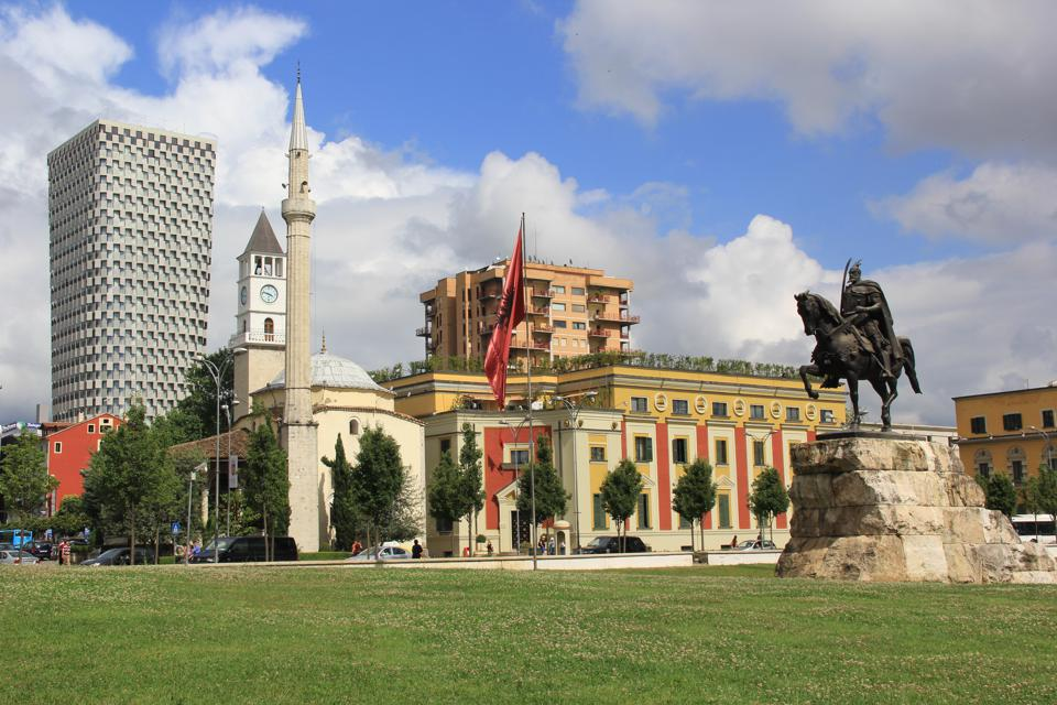 The central square and monument of Skanderbeg in the Albanian capital, Tirana