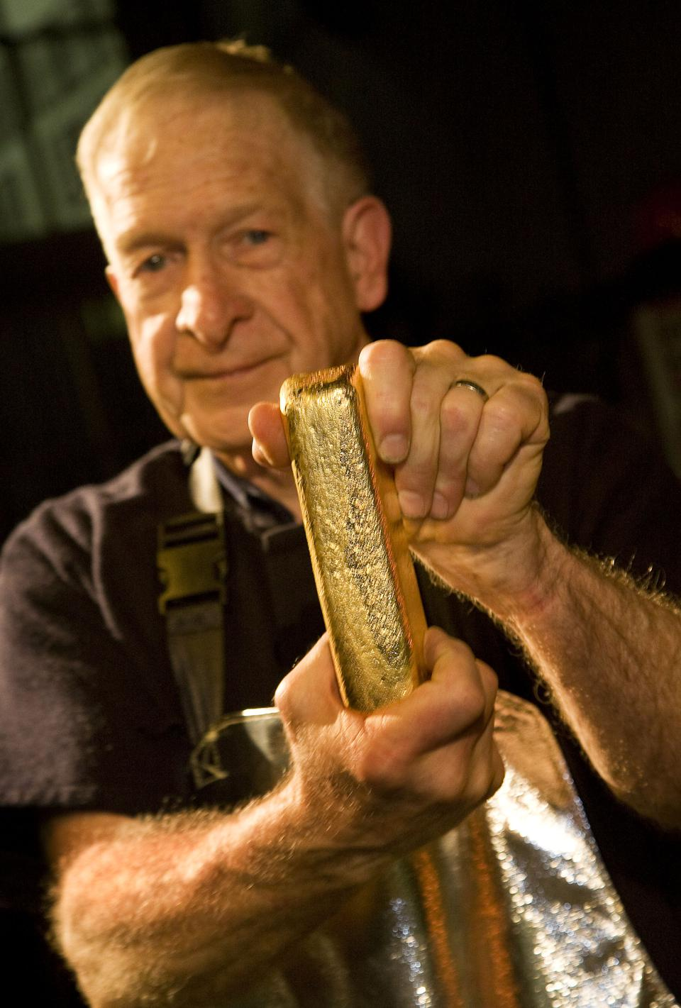 Freshly poured Gold Bar at the Perth Mint