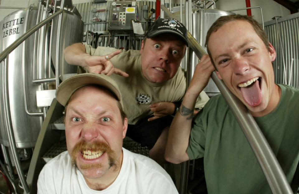 The owners of Colorado's Ska Brewing are quite a conspicuous team in this 1995 photo taken when they founded the brewery. The team is still intact: co-founders Bill Graham (left) and Dave Thibodeau (middle) and original head brewer Matt Vincent. Thibodeau is now the CEO.