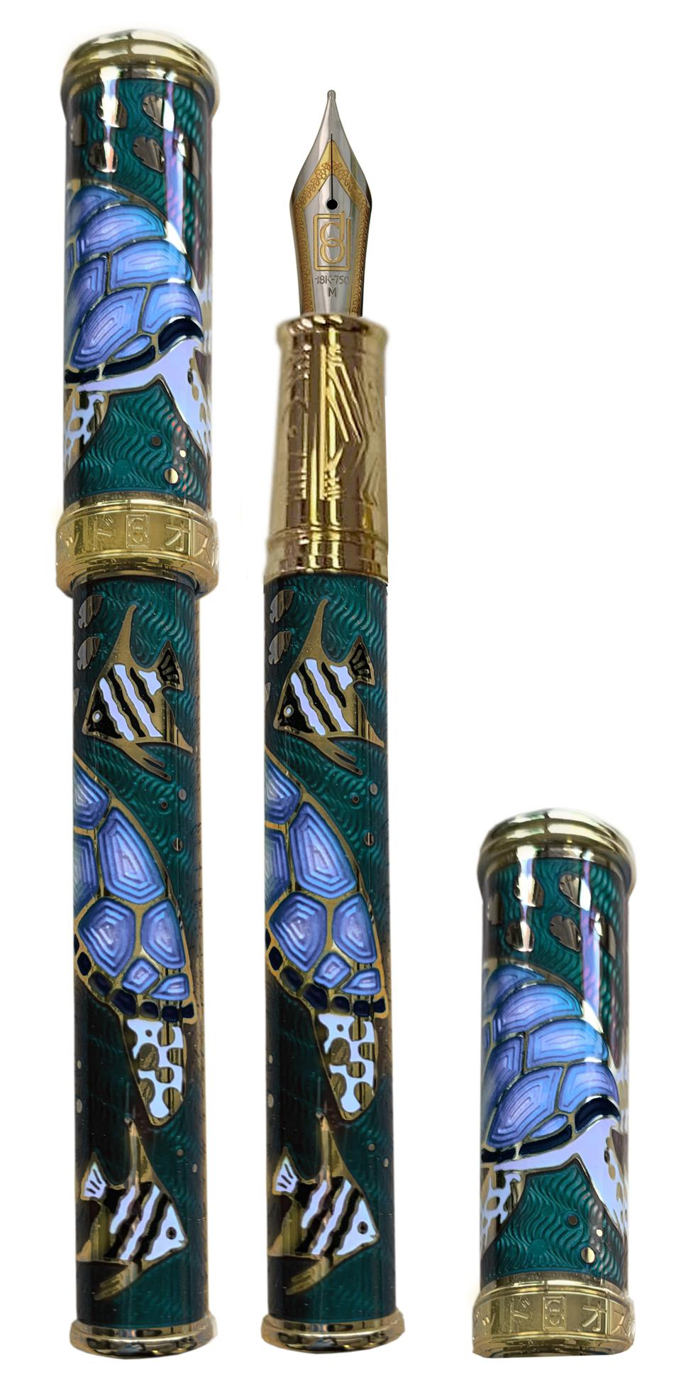 David Oscarson Sea Turtle fountain pen in teal with vermeil trim.