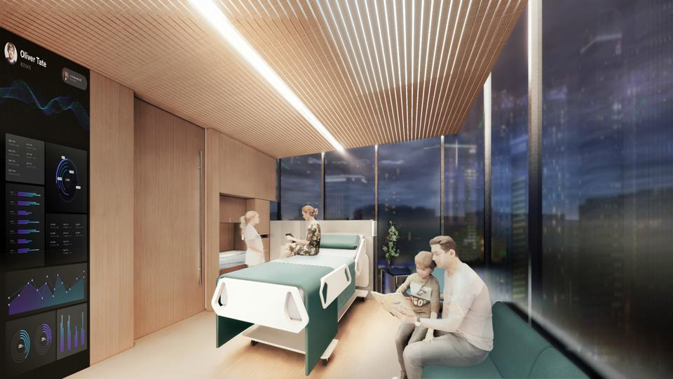 A rendering of a modern hospital room.